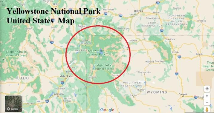 Yellowstone National Park United States map